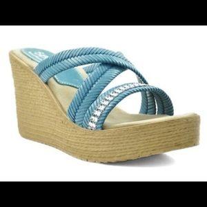 Sbicca Zennia Blue Slide Wedges